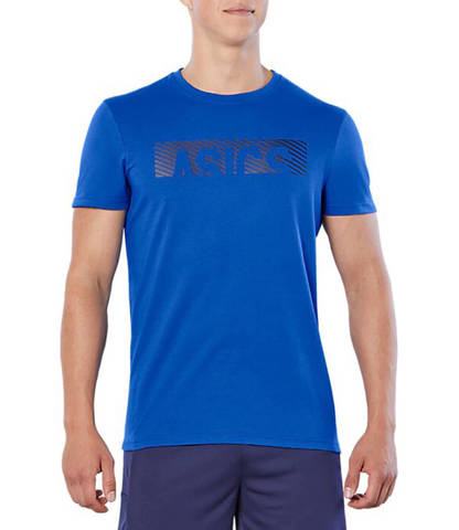 Asics Esnt Diagonal Ss Top футболка для бега мужская синяя