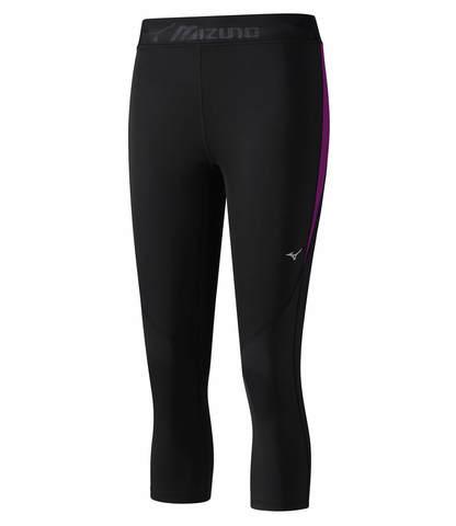 Тайтсы женские Mizuno Impulse Core 3/4 Tight  черные-фиолетовые
