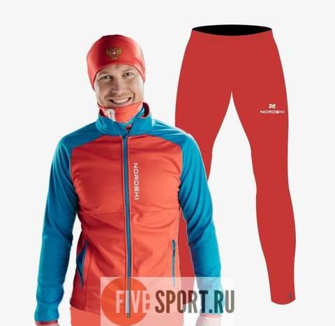 Nordski Premium Motion тренировочный лыжный костюм мужской red