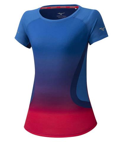 Mizuno Aero Tee беговая футболка женская синяя-розовая