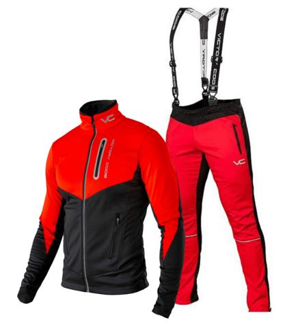 Victory Code Go Fast разминочный лыжный костюм с лямками red-red