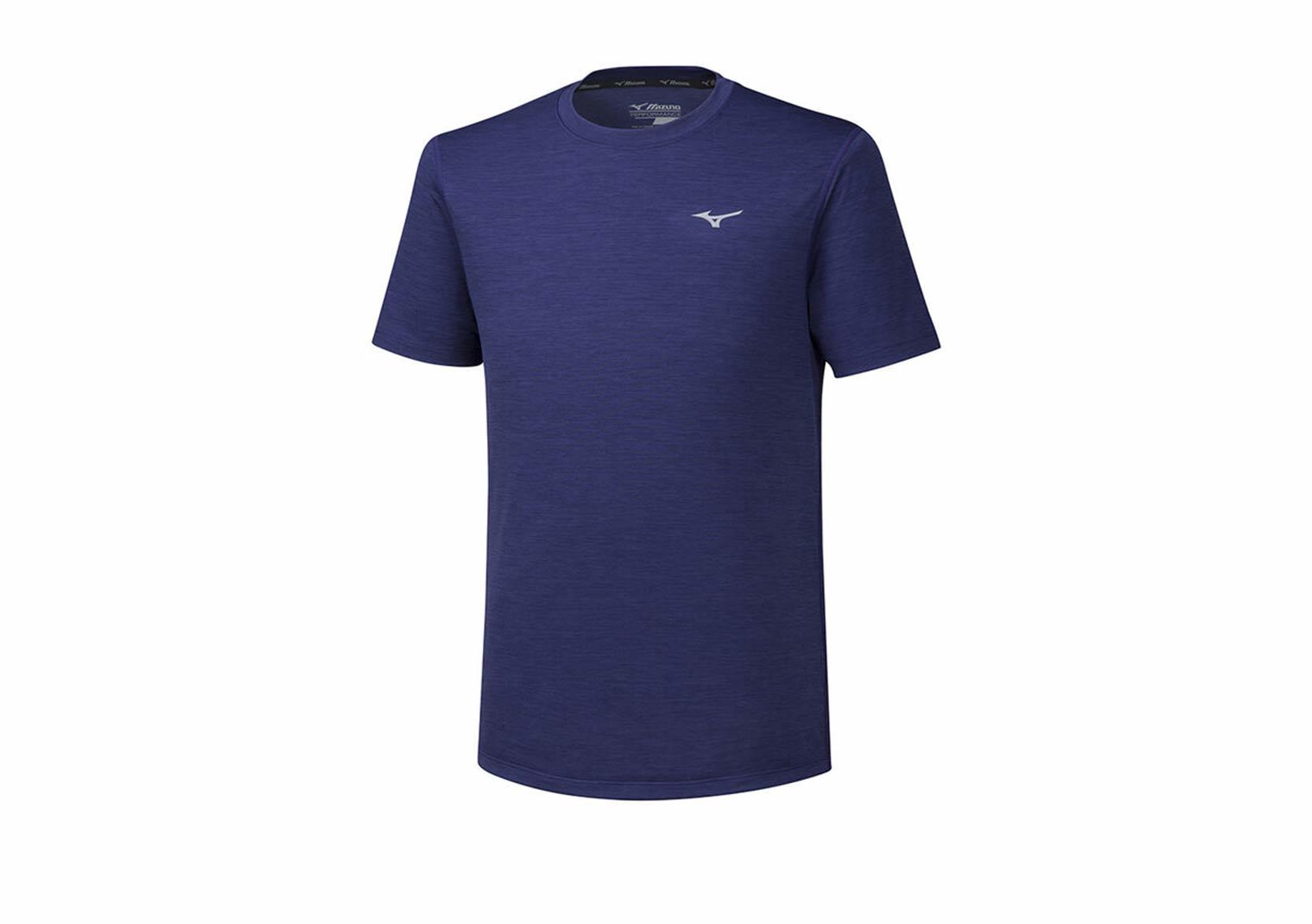 Mizuno Impulse Core Tee беговая футболка мужская темно-синяя - 1