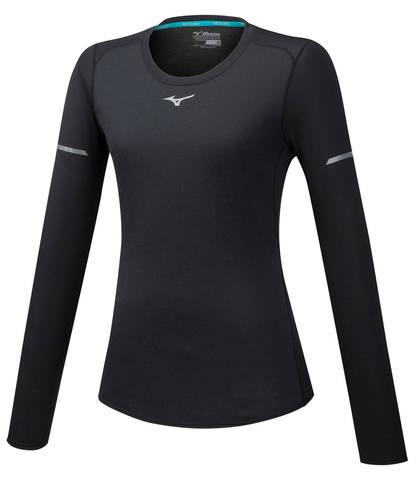 Mizuno Bt Mesh Ls Tee футболка с длинным рукавом женская черная