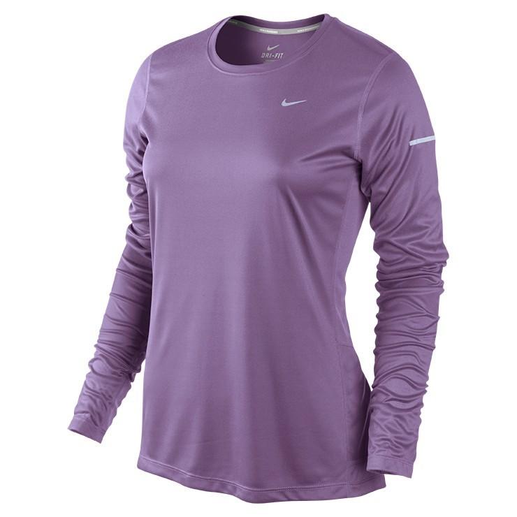 Футболка Nike Miler LS Top (W) /Рубашка беговая фиолетовая