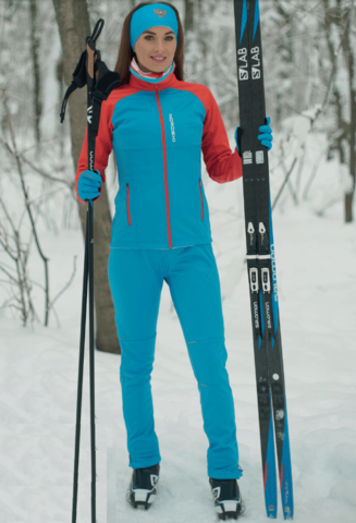 Nordski Premium разминочный лыжный костюм женский blue-red