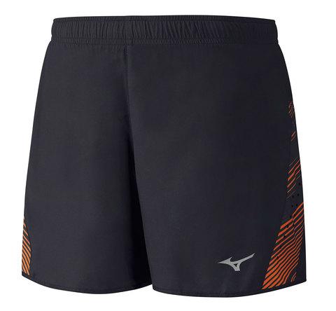 Беговые шорты мужские Mizuno Premium Aero Square 4.5 черные - оранжевые