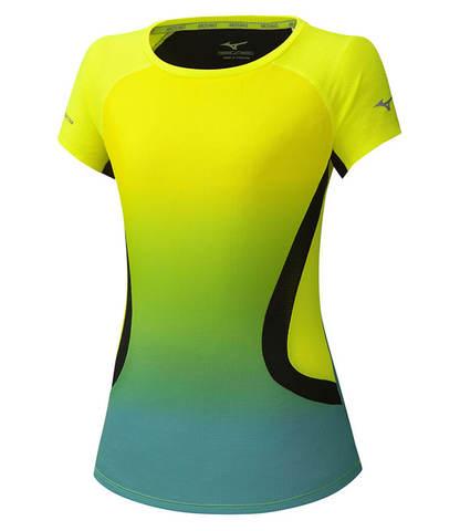 Mizuno Aero Tee беговая футболка женская желтая-голубая