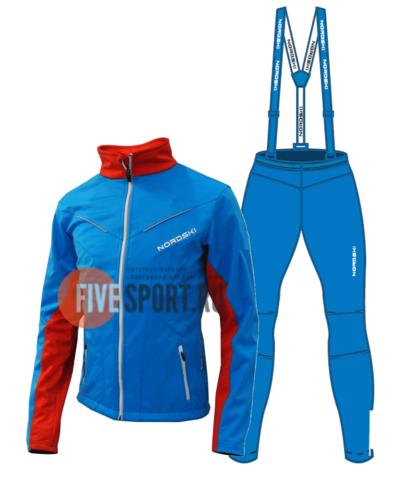Nordski National разминочный лыжный костюм мужской blue
