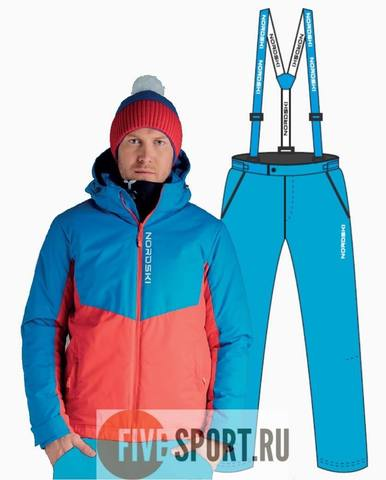 Nordski Montana Premium RUS теплый лыжный костюм мужской Blue-Red