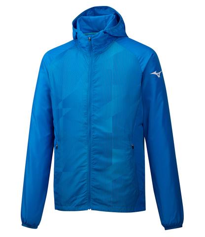 Mizuno Printed Hoodie Jacket куртка для бега мужская голубая