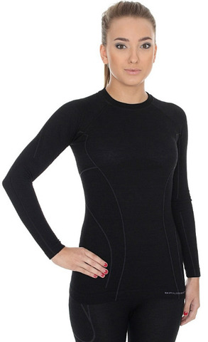 Термобелье женское Brubeck Active Wool терморубашка черная