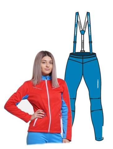 Nordski National Premium лыжный костюм женский red-blue