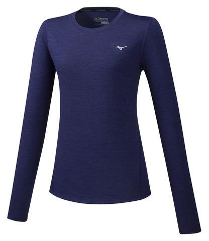 Mizuno Impulse Core Ls Tee футболка с длинным рукавом женская темно-синяя