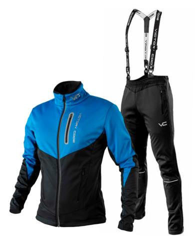 Victory Code Go Fast разминочный лыжный костюм с лямками blue-black