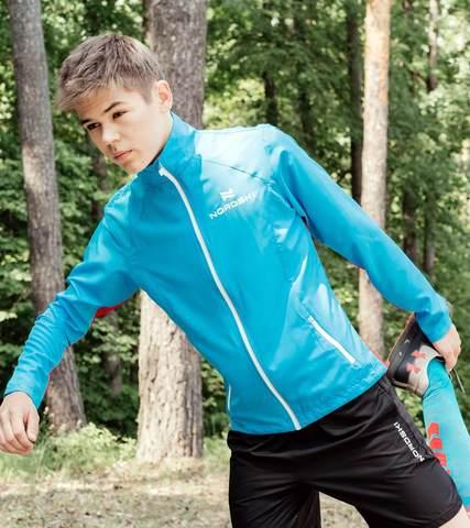 Nordski Jr Premium Run детская ветровка для бега голубая