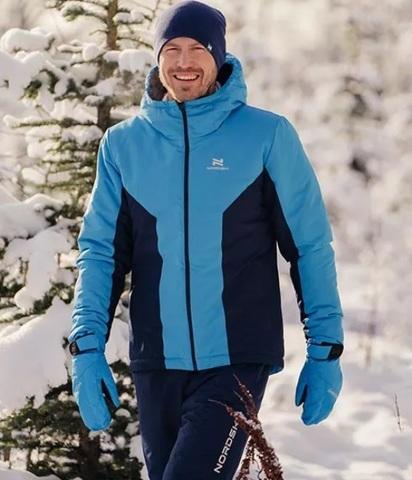Лыжная прогулочная куртка мужская Nordski Base light blue-black iris