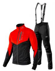 Victory Code Go Fast разминочный лыжный костюм с лямками red-black