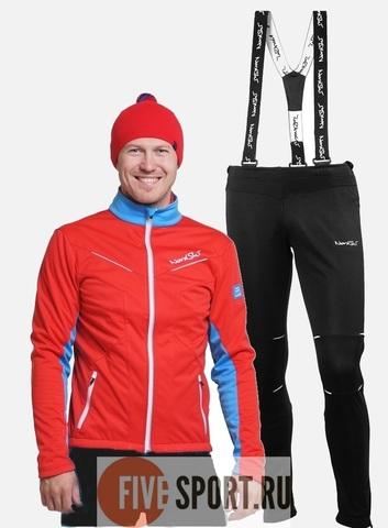 Nordski National Premium разминочный лыжный костюм мужской Red-Black