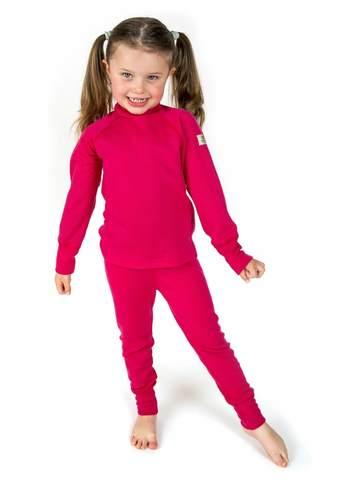 Janus Princess Wool комплект термобелья детский из шерсти мериносов малиновый
