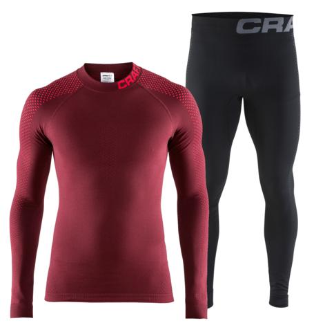 Craft Warm Intensity комплект термобелья мужской бордо-черный