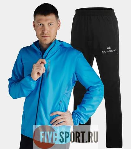 Nordski Run Motion костюм для бега мужской Light Blue-Black