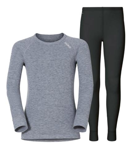 Odlo Warm детское термобелье комплект серый меланж-черный