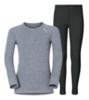 Odlo Warm детское термобелье комплект серый меланж-черный - 1