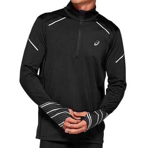 Asics Lite-show Winter 1/2 Zip Top рубашка для бега мужская черная