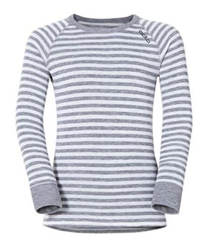 Odlo Warm детское термобелье футболка с длинным рукавом белая-серая