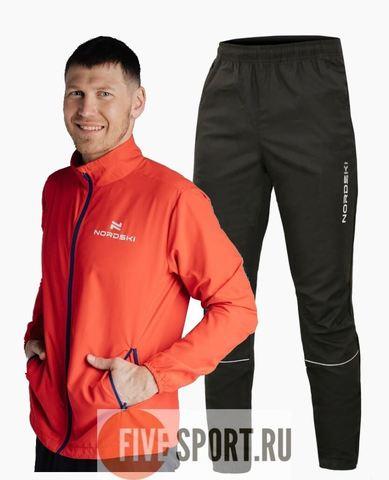 Nordski Motion Run костюм для бега мужской red-black