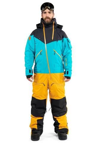 Cool Zone KITE мужской комбинезон для сноуборда черный-волна-горчичный
