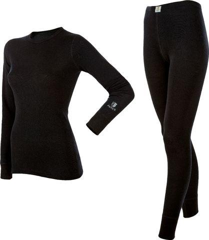 Janus комплект термобелья женский  из шерсти мериноса black