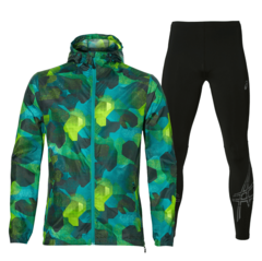Asics Fuzex Packable Stripe костюм для бега мужской зеленый-черный