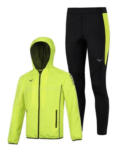 Mizuno Micro Static Bt костюм для бега мужской желтый-черный