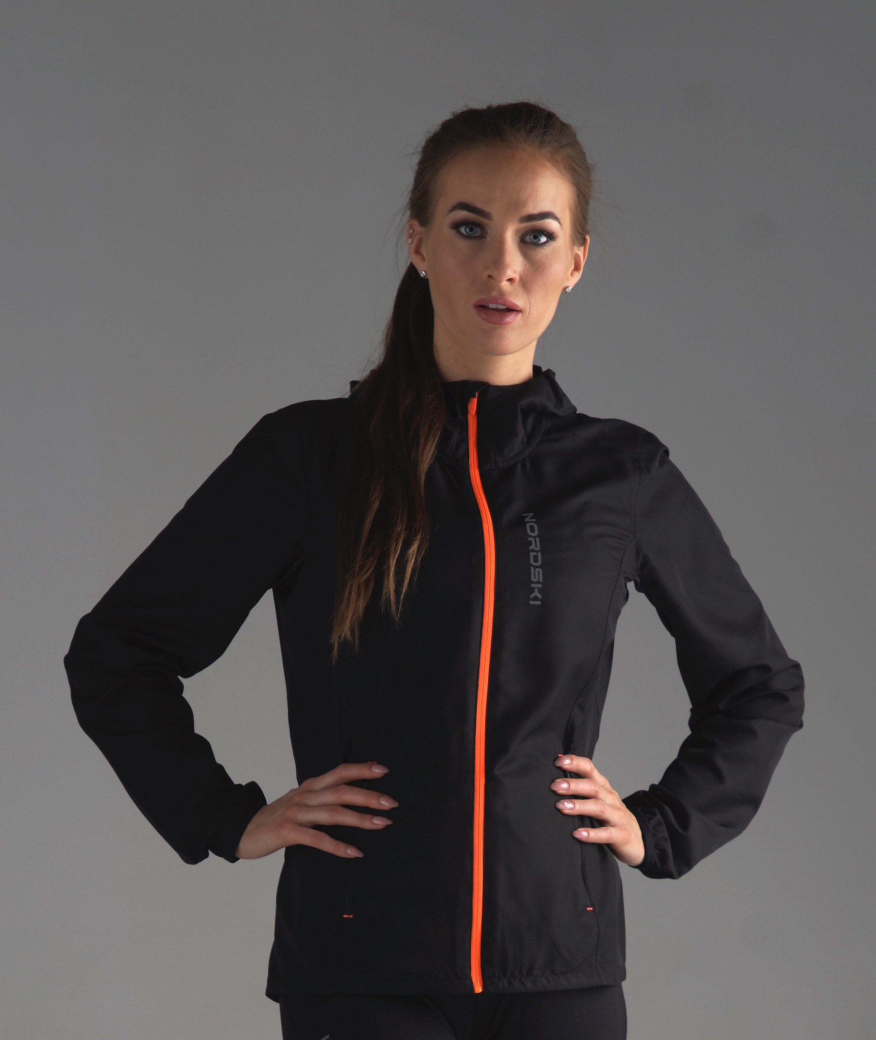 Nordski Jr Run куртка для бега детская Black/Orange - 2
