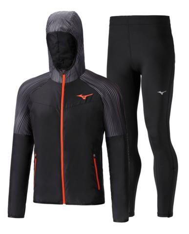 Mizuno Printed Hoodie Impulse Core костюм для бега мужской черный-серый