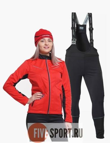Nordski Premium Active разминочный лыжный костюм женский Black-Red