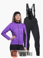 Nordski Premium Active разминочный лыжный костюм женский Black-Violet
