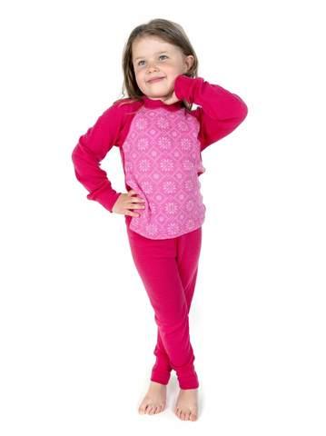 Janus Princess Wool комплект термобелья детский с принтом малиновый