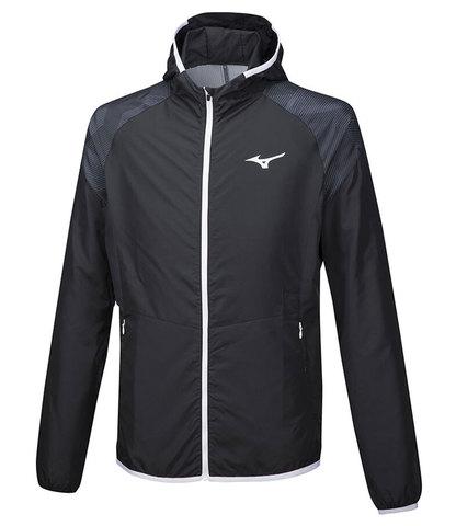 Mizuno Printed Hoody Jacket куртка для бега мужская черная