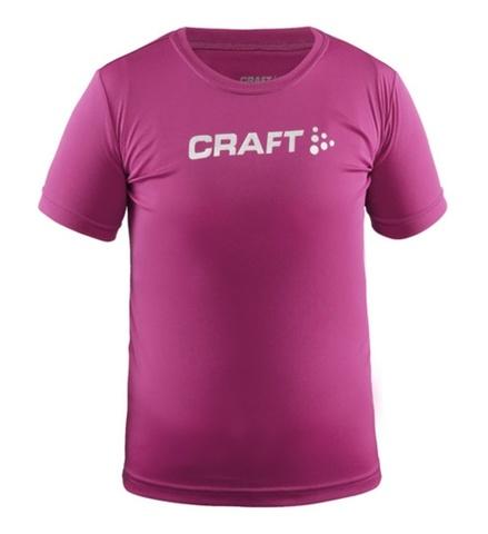 CRAFT RUN LOGO детская беговая футболка малиновая