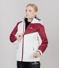 Теплая лыжная куртка женская Nordski Premium Sport cream-wine - 1