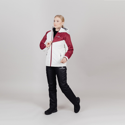 Теплая лыжная куртка женская Nordski Premium Sport cream-wine